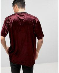 ASOS | Red Oversized Over Head Woven Tee In Velvet for Men | Lyst