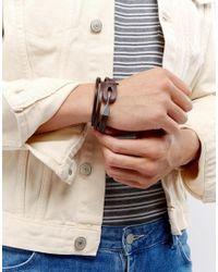 ASOS - Leather Double Wrap Bracelet In Brown for Men - Lyst