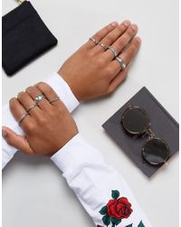 ASOS - Metallic Midi Ring Pack In Silver With Emboss for Men - Lyst