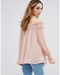 ASOS - Pink Tall Off Shoulder Top With Shirring - Lyst
