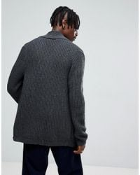 ASOS - Gray Knitted Cardigan In Charcoal for Men - Lyst