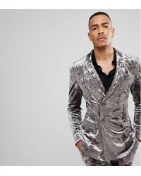 ASOS DESIGN - Gray Tall Super Skinny Double Breasted Tuxedo Suit Jacket In Grey Crushed Velvet for Men - Lyst