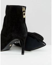 Dune - Black Oralia Suede Pointed Heeled Boots - Lyst