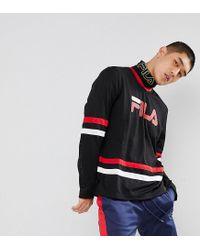 96b925a5fb11 Fila Black Line Mesh Long Sleeve T-shirt With Logo In Black Line in ...
