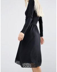ASOS - Black Midi Wrap Dress With Lace Hem - Lyst