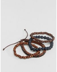 ASOS DESIGN - Leather And Beaded Bracelet Pack In Black And Brown for Men - Lyst