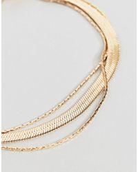 ASOS - Metallic Asos Design Curve Multirow Bracelet With Vintage Style Flat Snake Chain In Gold - Lyst