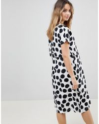 ASOS - White Nursing Midi Dress With Double Layer In Blurred Spot - Lyst
