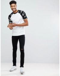 ASOS - White Design Tall T-shirt With Floral Printed Raglan Sleeve for Men - Lyst