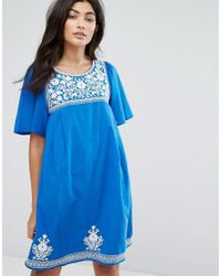 YMC - Blue Floral Embroidery Dress - Lyst
