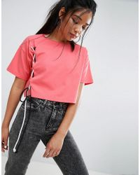 ASOS - Pink Crop T-shirt With Contrast Lace Up Details - Lyst