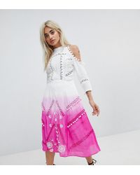 ASOS - Pink Premium Cold Shoulder Dip Dye Victoriana Midi Dress With Pom Pom Trims And Lace Inserts - Lyst