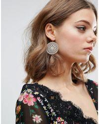 ASOS - Metallic Filigree Disc Earrings - Lyst