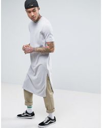 ASOS - Extreme Longline Knitted T-shirt With Side Splits In Gray for Men - Lyst