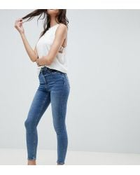 ASOS - Blue Design Ridley High Waist Skinny Jeans In Extreme Mid Wash - Lyst