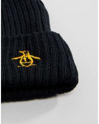 Original Penguin - Black Rib Beanie Hat for Men - Lyst