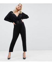 ASOS - Black Jersey Jumpsuit With Batwing Sleeve And Belt - Lyst