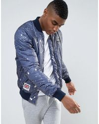 Abuze London | Blue Splatter Patch Ma1 Bomber Jacket for Men | Lyst