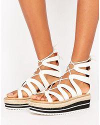 Sixtyseven - White Tieup Flatform Sandal - Lyst