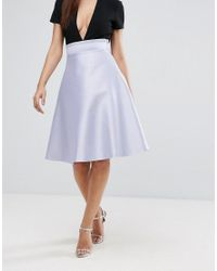 Vesper - Purple Bonded Satin Prom Skirt With Bow Back - Lyst