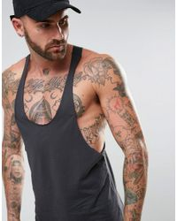 ASOS | Black Tank With Raw Edge Extreme Racer Back for Men | Lyst