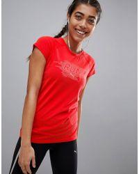 PUMA - Red Running Short Sleeved Tee - Lyst
