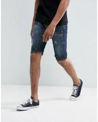 Threadbare - Blue Cropped Denim Shorts for Men - Lyst