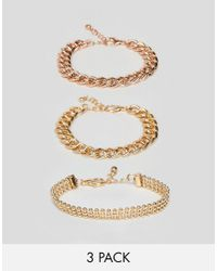ASOS - Metallic Design Pack Of 3 Bracelets In Mixed Size Chain Design - Lyst