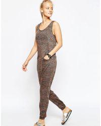 ASOS | Brown Minimal Jersey Jumpsuit In Space Dye | Lyst