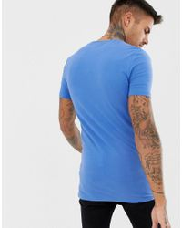 ASOS - Longline Muscle Fit T-shirt With Crew Neck In Blue for Men - Lyst