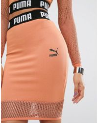 PUMA - Pink Exclusive To Asos Cropped Mesh Skirt Co Ord - Lyst