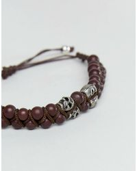 ASOS - Bead Bracelet With Skull Design In Brown for Men - Lyst