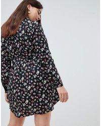 AX Paris - Black Ditsy Floral Shirt Dress - Lyst