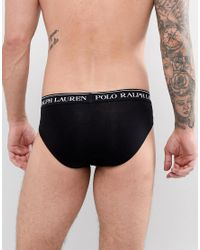 Polo Ralph Lauren - Multicolor 3 Pack Briefs With Logo Waistband In Black/white/grey Marl for Men - Lyst