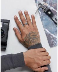 ASOS - Metallic Sterling Silver Ring With Skull Design for Men - Lyst