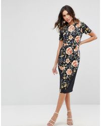 ASOS - Black Wiggle Dress In Floral Embroidery Print - Lyst