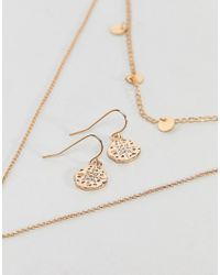 Nylon - Metallic Multi Layered Necklace And Earring Gift Set - Lyst