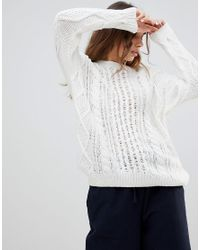Monki - White Cable Knit Sweater - Lyst