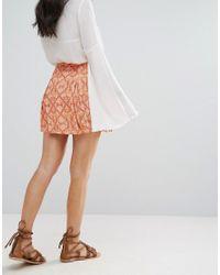 Free People | Orange Lovers Lane Printed Mini Skirt | Lyst
