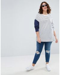 ASOS - White Top In Stripe With Colourblock Sleeve - Lyst