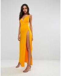 ASOS - Orange Super Thigh Split Maxi Dress - Lyst