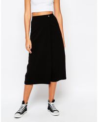Noisy May Tall - Black Wrap Front Culotte - Lyst