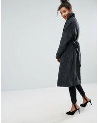 ASOS DESIGN - Black Asos Shawl Collar Belted Coat - Lyst
