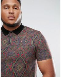 ASOS - Multicolor Plus Polo With All Over Paisley Print In Pique for Men - Lyst