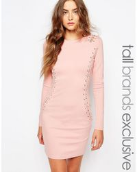 True Decadence - Eyelet Lace Up Long Sleeve Bodycon Dress - Pink - Lyst