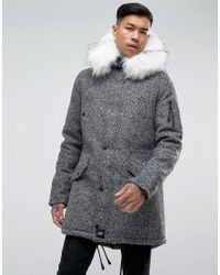 858f36d242889 Sixth June. Men s Gray Parka Jacket In Grey Wool With Oversized Faux Fur  Hood