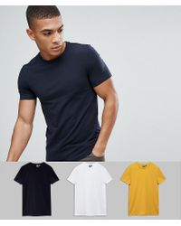 ASOS - Blue Muscle Fit T-shirt With Crew Neck 3 Pack Save for Men - Lyst