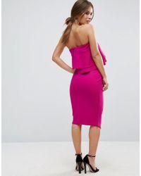 ASOS - Purple Double Ruffle Bandeau Pencil Dress In Texture - Lyst