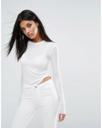 AllSaints | White Bea T-shirt With Long Sleeves | Lyst