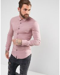 ASOS - Pink Skinny Viscose Shirt In Dusty Rose for Men - Lyst